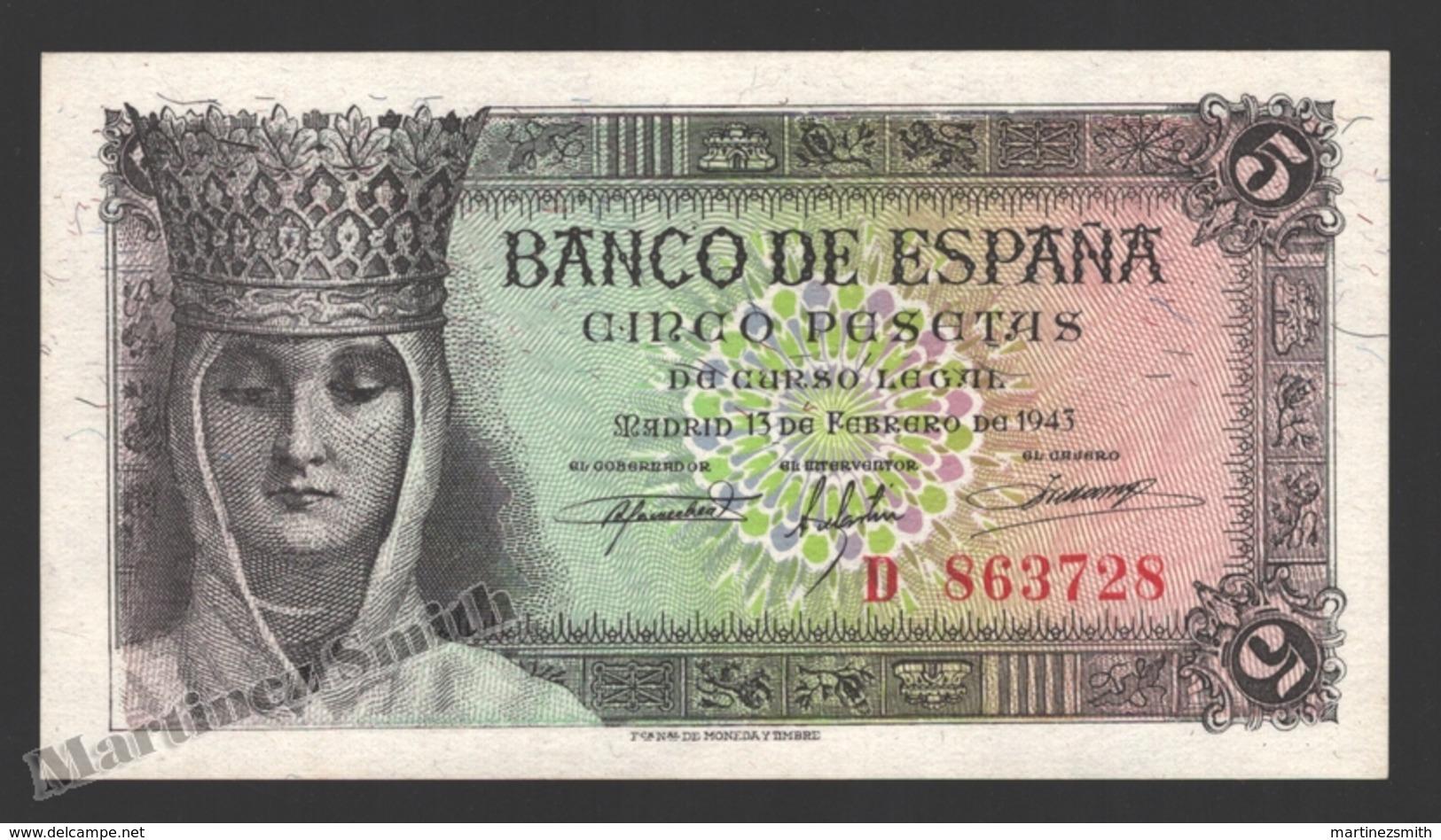 Banknote Spain -  5 Pesetas – February 1943 – Queen Isabel La Catolica - Condition VF - Pick 127 - 5 Pesetas