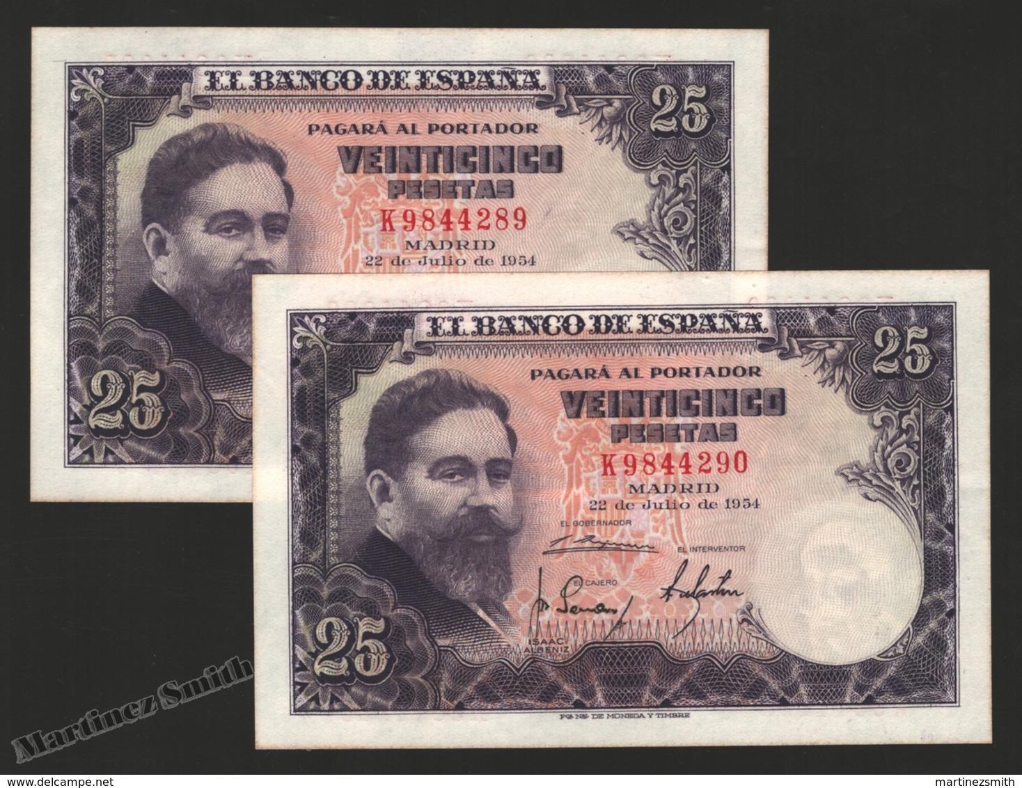 Banknote Spain -  25 Pesetas – July 1954 – Isaac Albeñiz, Music Composer - Condition VF – Correlative Pair - Pick 147a - [ 3] 1936-1975 : Regime Di Franco