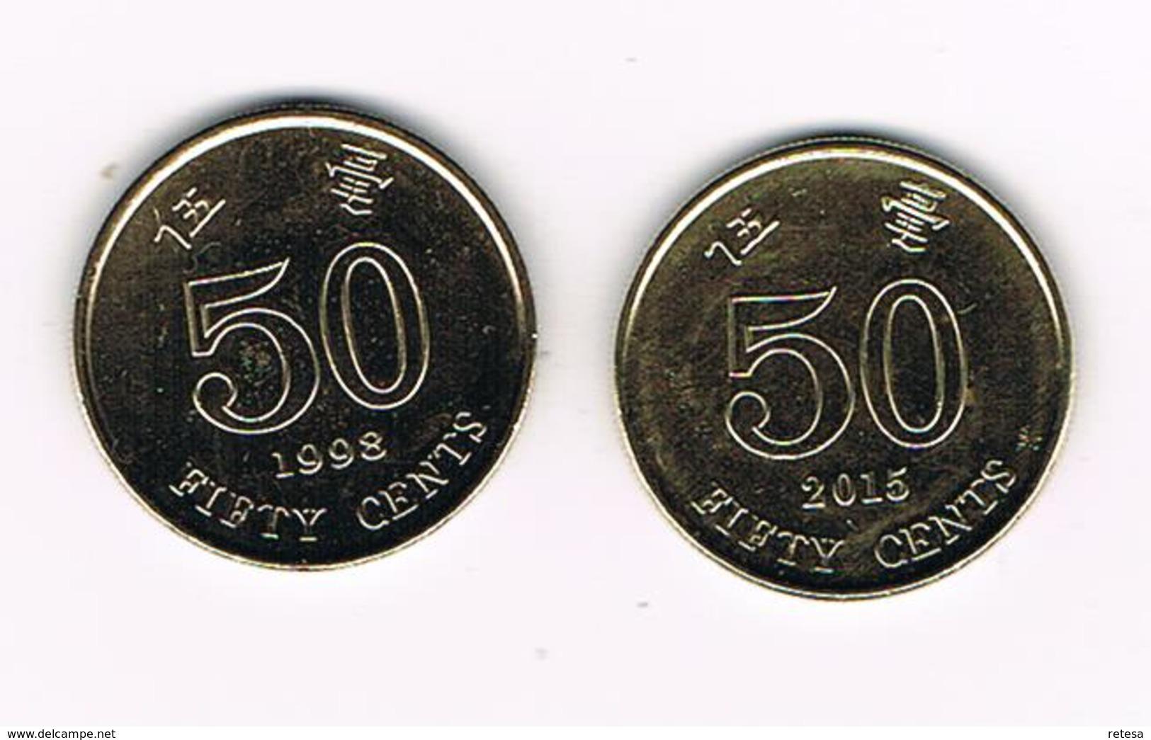 /  HONG KONG  2 X 50  CENTS 1998/2015 - Hong Kong
