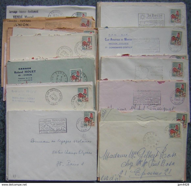 France Lot Vrac Coq 1331 - 1331A De Décaris 85 Plis, 25 Grs TP Lavé Et  Fragments R Pour étude - Quelques 1331 - Vrac (max 999 Timbres)