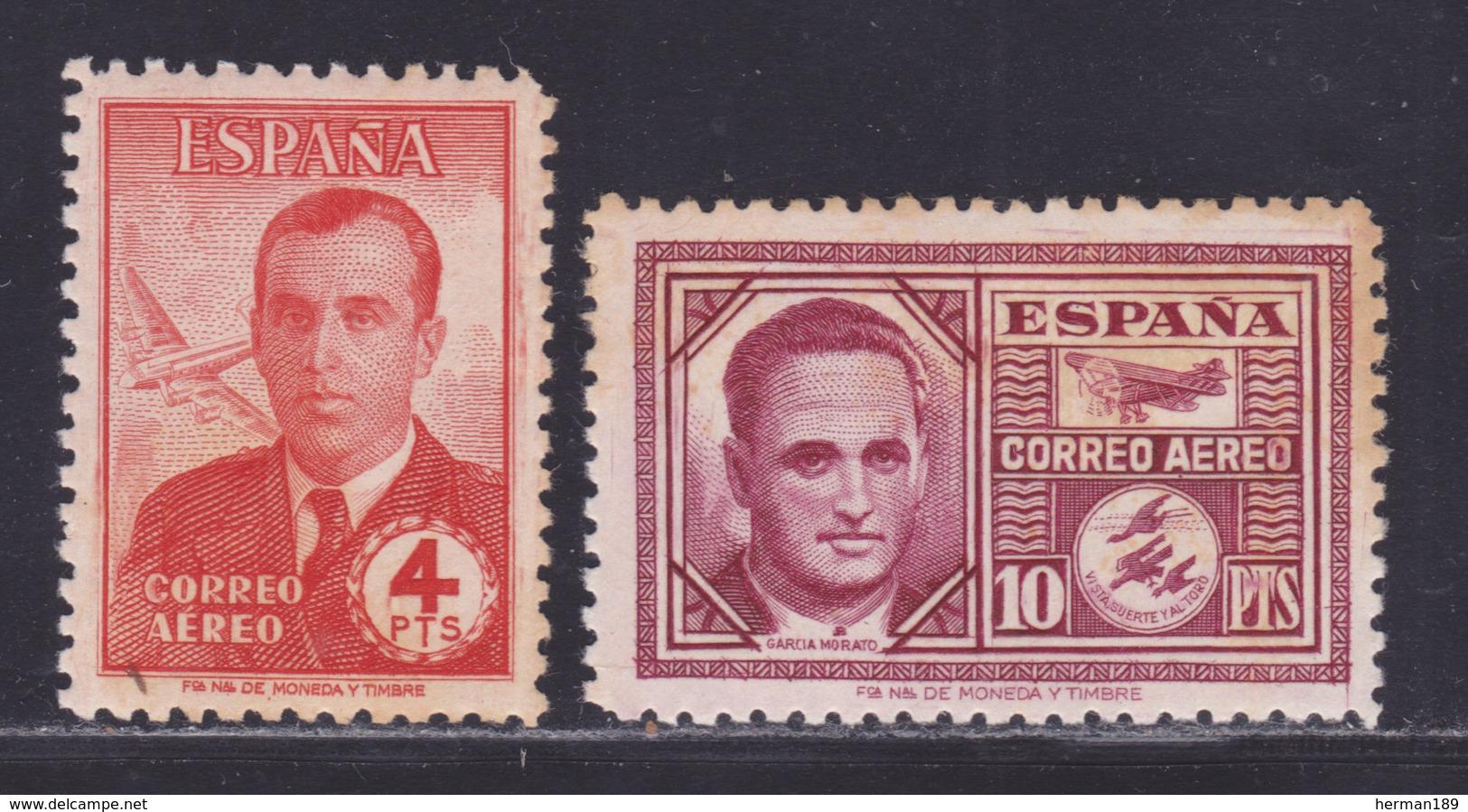 ESPAGNE AERIENS N°  231 & 232 ** MNH Neufs Sans Charnière, Rousseurs (L1245) Héros De L'aviation - 1945-46 - Nuevos & Fijasellos