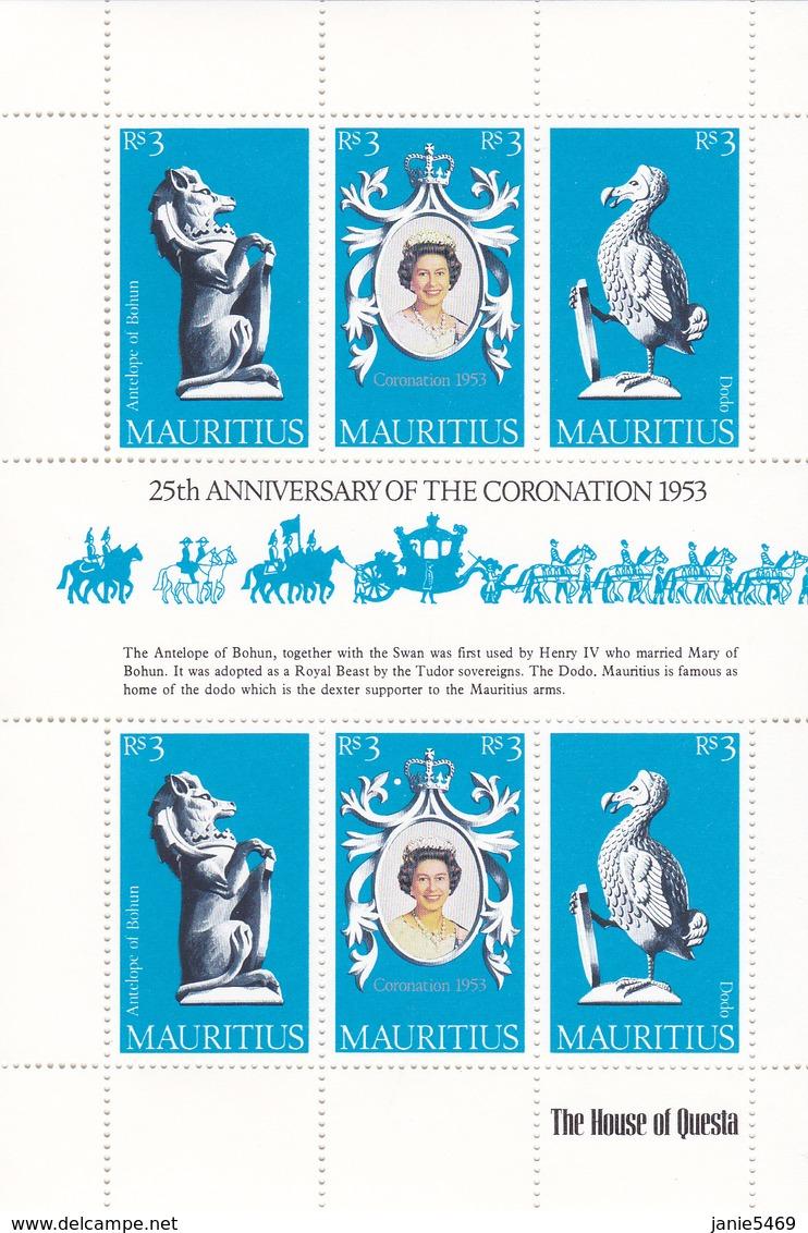 Mauritius 1978 25th Anniversary Of Coronation Of QE II, Mint Never Hinged Sheetlet - Maurice (1968-...)