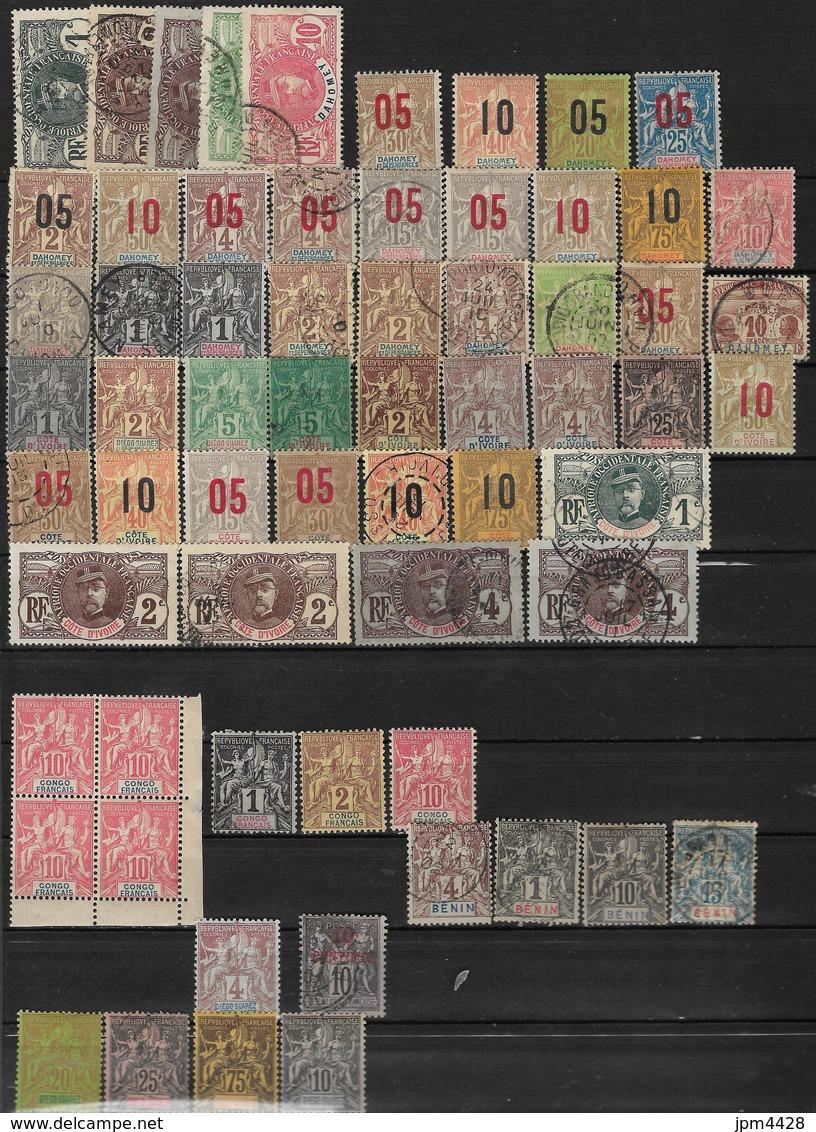 Colonie Lot De 65 Timbres Oblitérés, Neufs Avec Charniére - Dahomey, Côte D'Ivoire, Congo, Benin, Diégo Suarez - Vrac (max 999 Timbres)