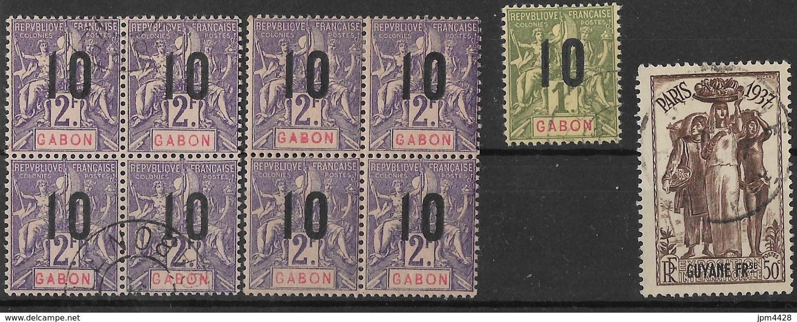 Colonie Lot De 74 Timbres Oblitérés, Neufs Avec Charniére - Martinique, Gabon, Grande Comore, Guyane, Sultanat D'anjouan - Vrac (max 999 Timbres)