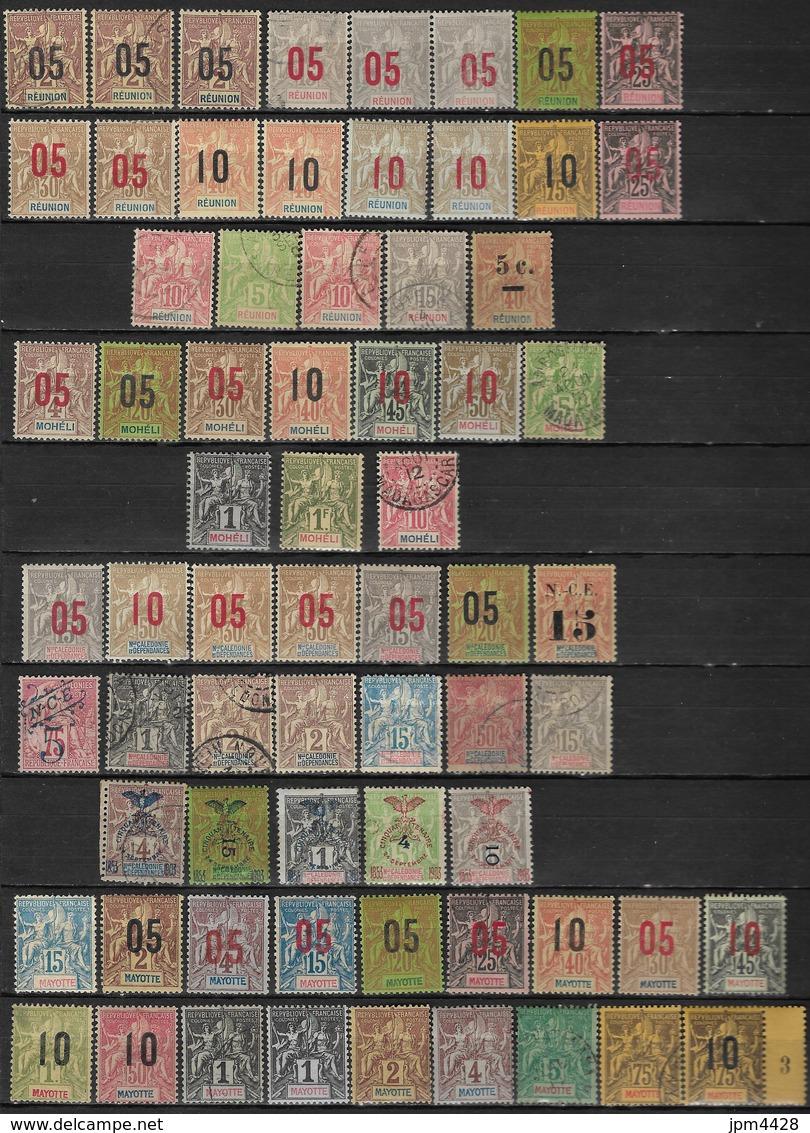 Colonie Lot De 68 Timbres Oblitérés, Neufs Avec Charniére - Réunion, Mohéli, Mayotte, Nouvelle Calédonie - Vrac (max 999 Timbres)