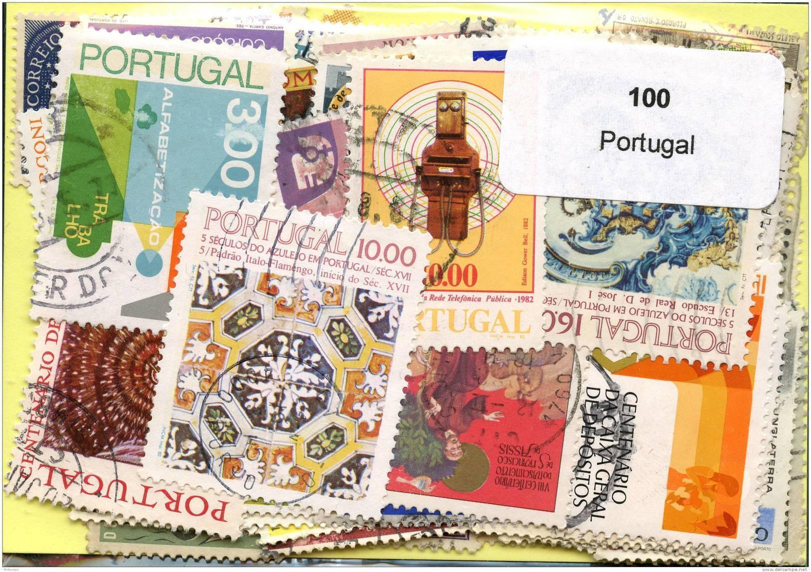 Lot 100 Timbres Portugal - Vrac (max 999 Timbres)