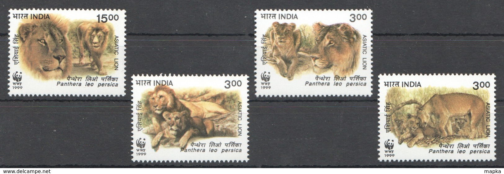 L615 1999 INDIA WWF FAUNA WILD ANIMALS ASIATIC LIONS 1SET MNH - W.W.F.