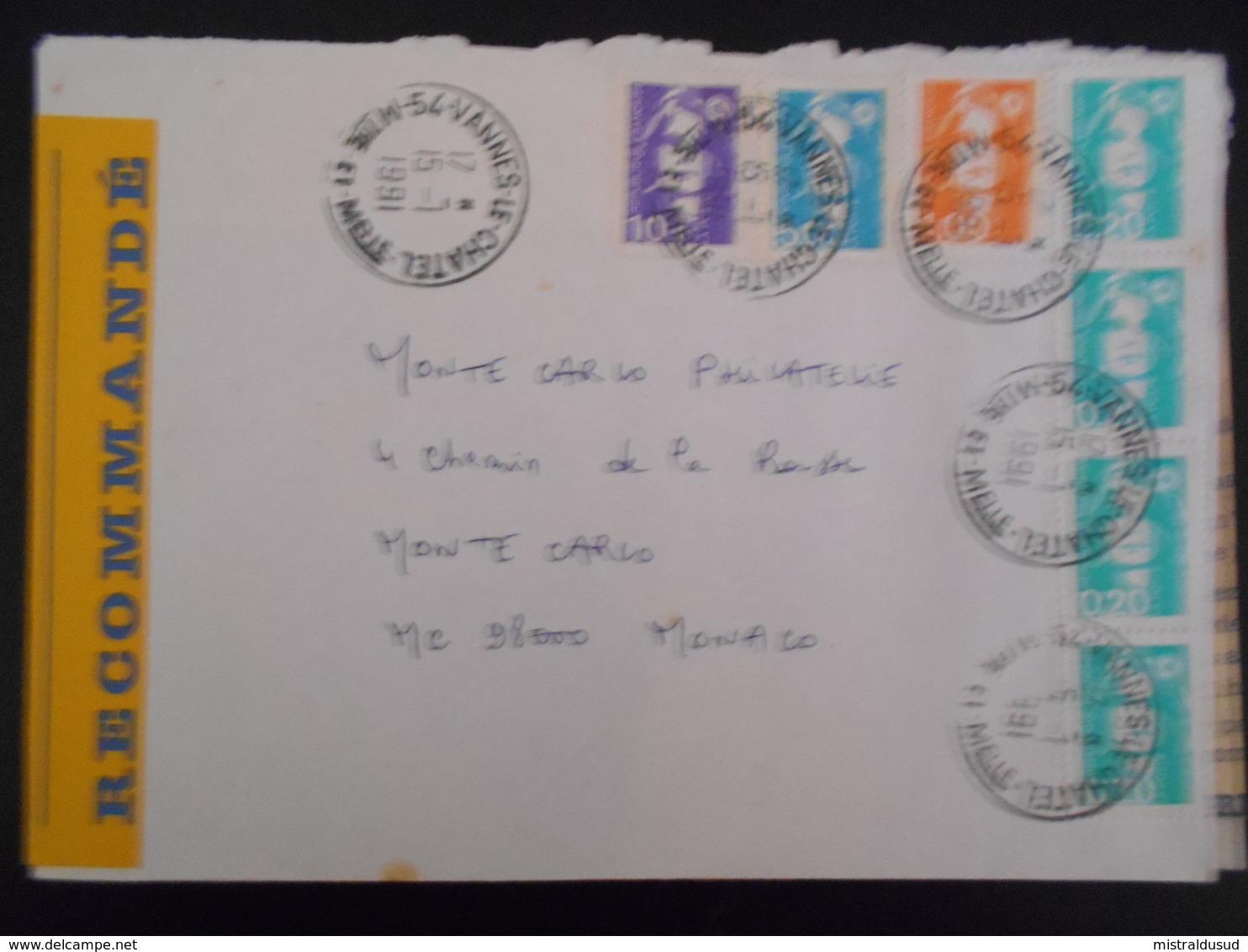 France Marianne Du Bicentenaire , Lettre Recommandee De Vannes-le-chatel 1991 Pour Monaco - 1989-96 Marianne Du Bicentenaire