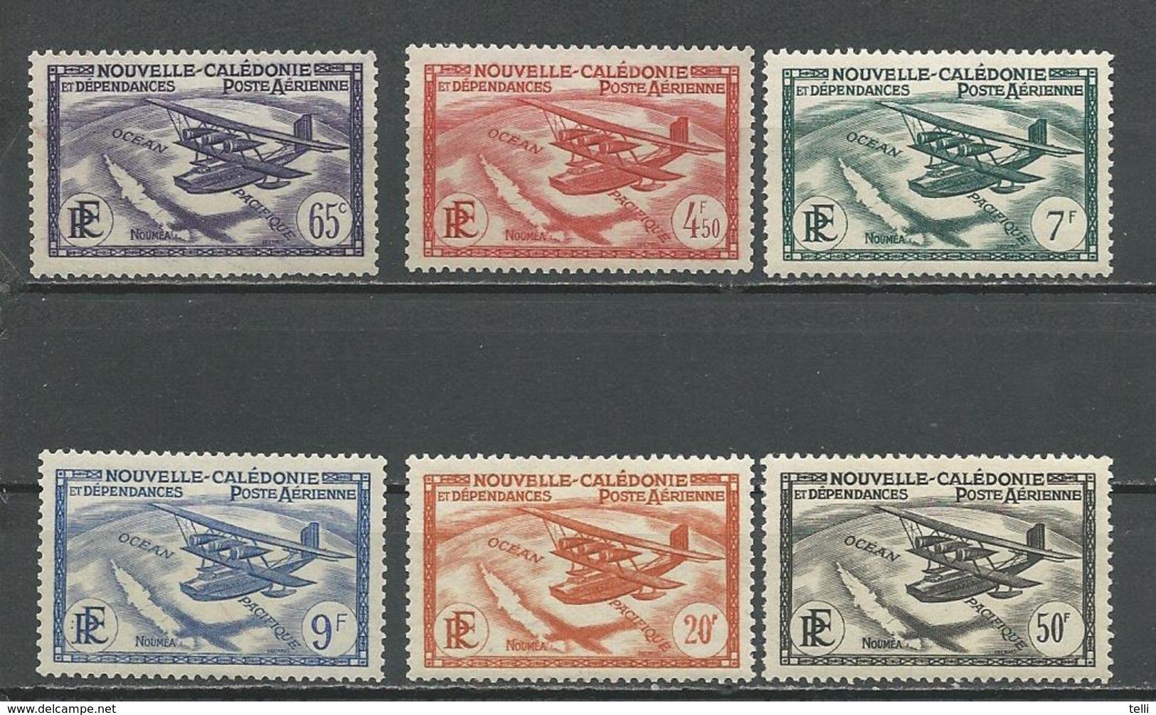 NLLE CALÉDONIE Scott C1-C6 Yvert PA29-PA34 (6) *VLH Cote 10,00 $ 1938 - Nouvelle-Calédonie