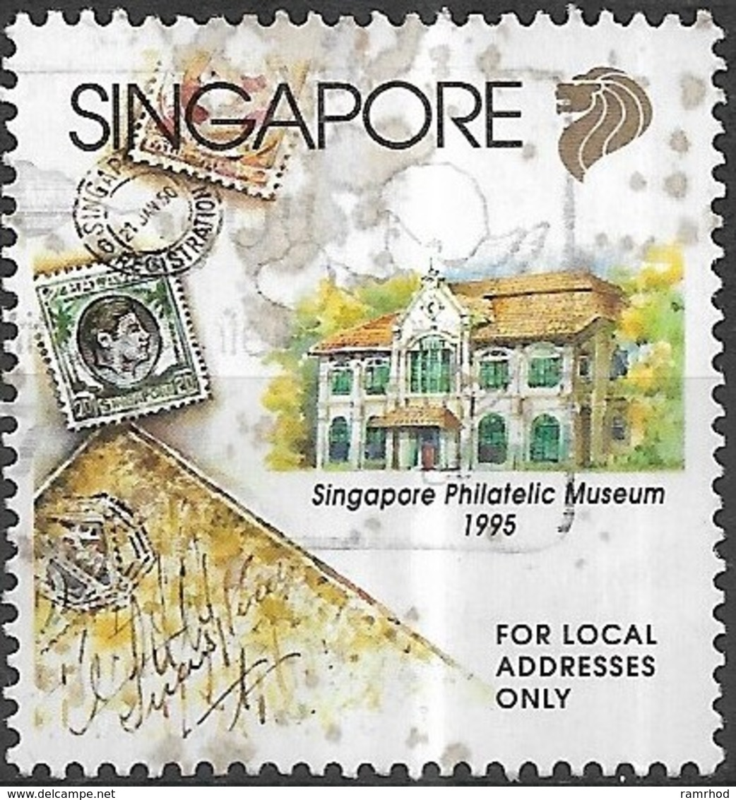 SINGAPORE 1995 Opening Of Singapore Philatelic Museum - (22c) - Envelope, Stamps And Museum FU - Singapour (1959-...)