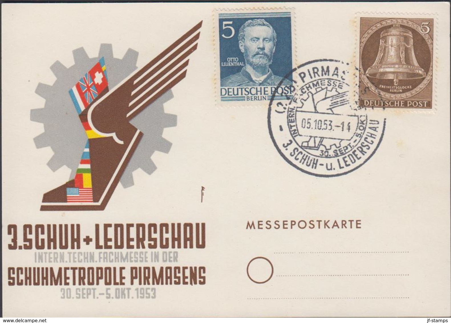 1953. Berlin. 5 Pf. FREIHEITSGLOCKE BERLIN + 5 Pf. OTTO LILIENTHAL. PIRMASENS 3. SCHU... (MICHEL 101, 92) - JF310574 - [5] Berlin