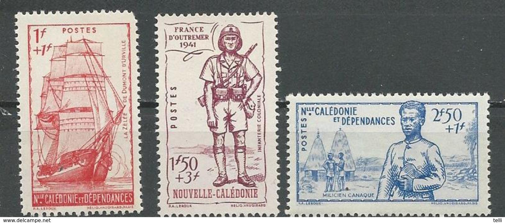 NLLE CALÉDONIE Scott B10-B12 Yvert 190-192 (3) *VLH Cote 10,00 $ 1938 - Nouvelle-Calédonie