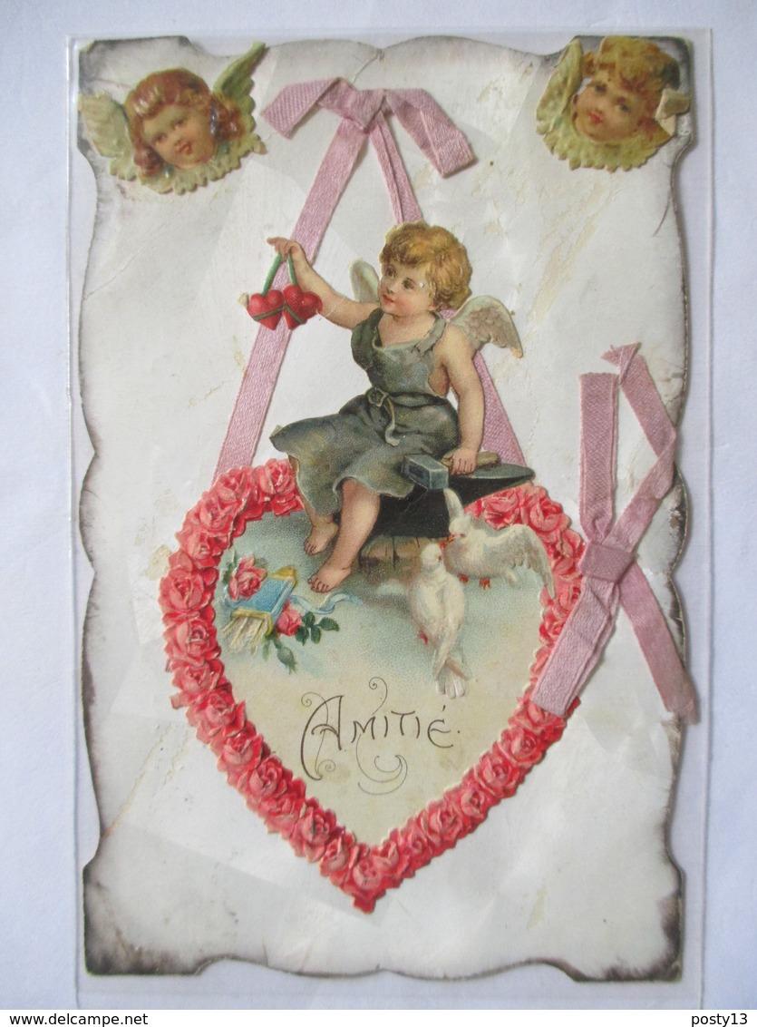 """CPA  ANGES -  Découpis - Rubans - Oiseaux -  """" Amitié """"  1907  TBE - Anges"""