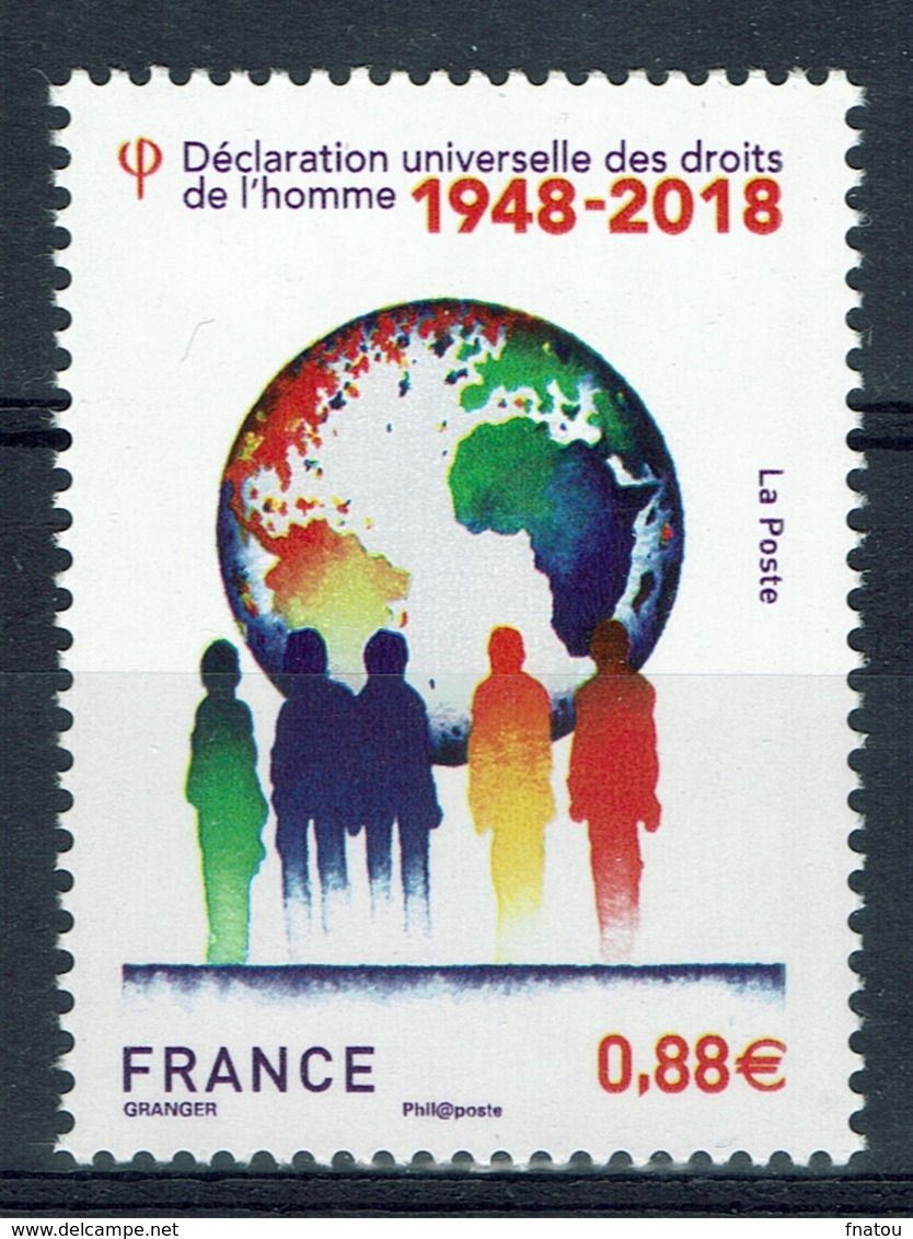 France, Universal Declaration Of Human Rights, 70th Anniv., 2018, MNH VF - Unused Stamps