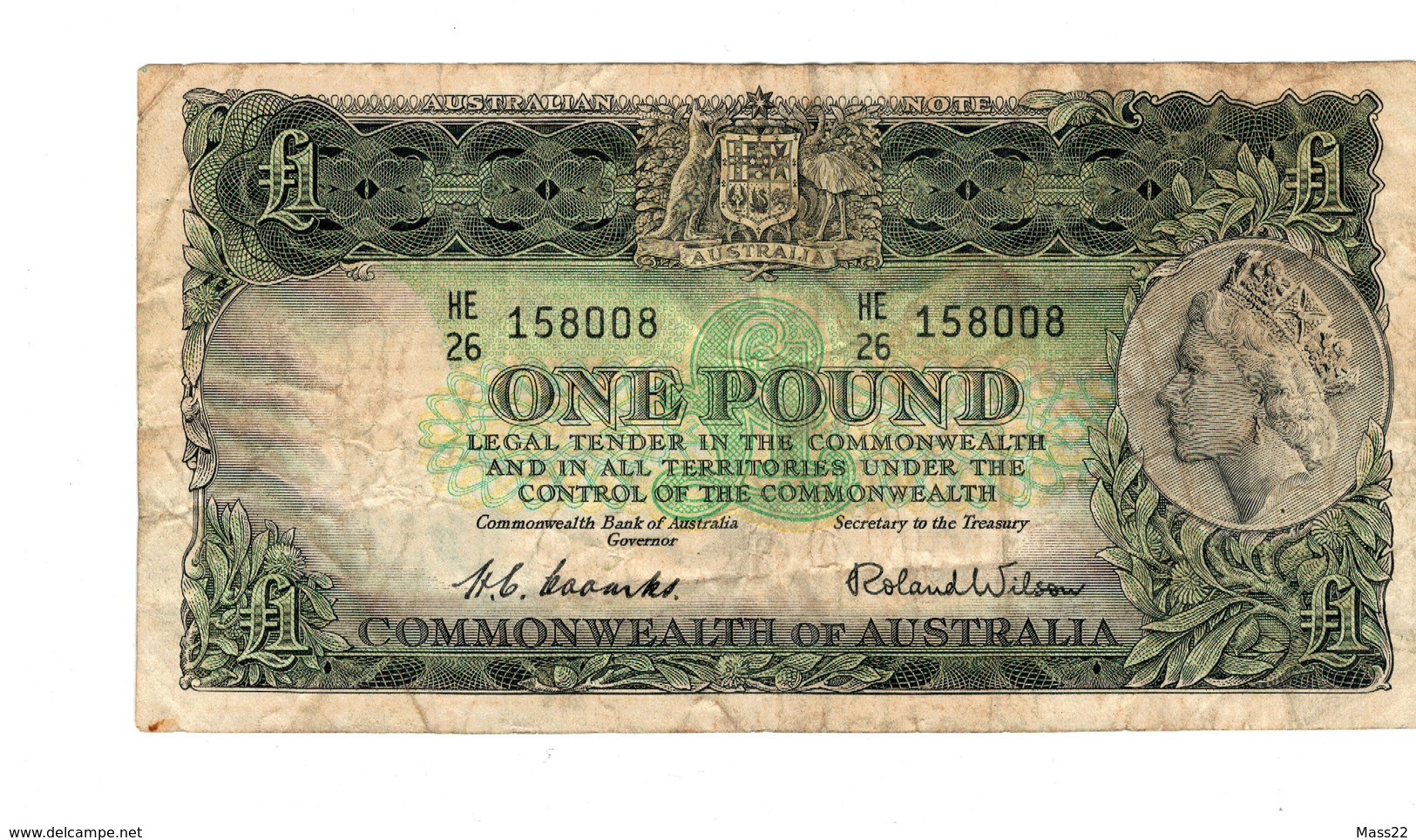 Australian Coombs Wilson One Pound, 1953 VF, HE 26 - Pre-decimal Government Issues 1913-1965