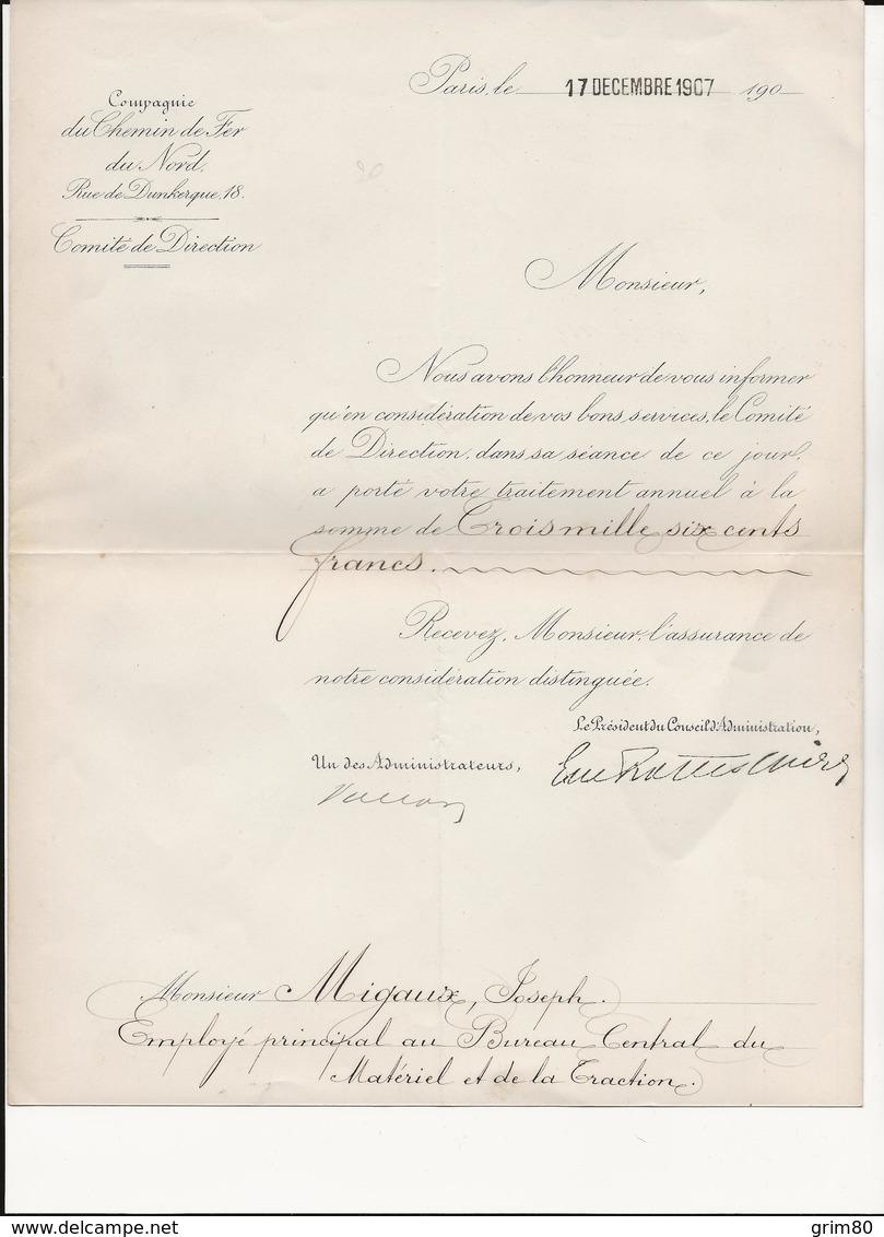 DEPLIANT    COMPAGNIE   DU CHEMIN  DE FER     DU NORD      PARIS     LE 17  DECEMBRE  1907 - France