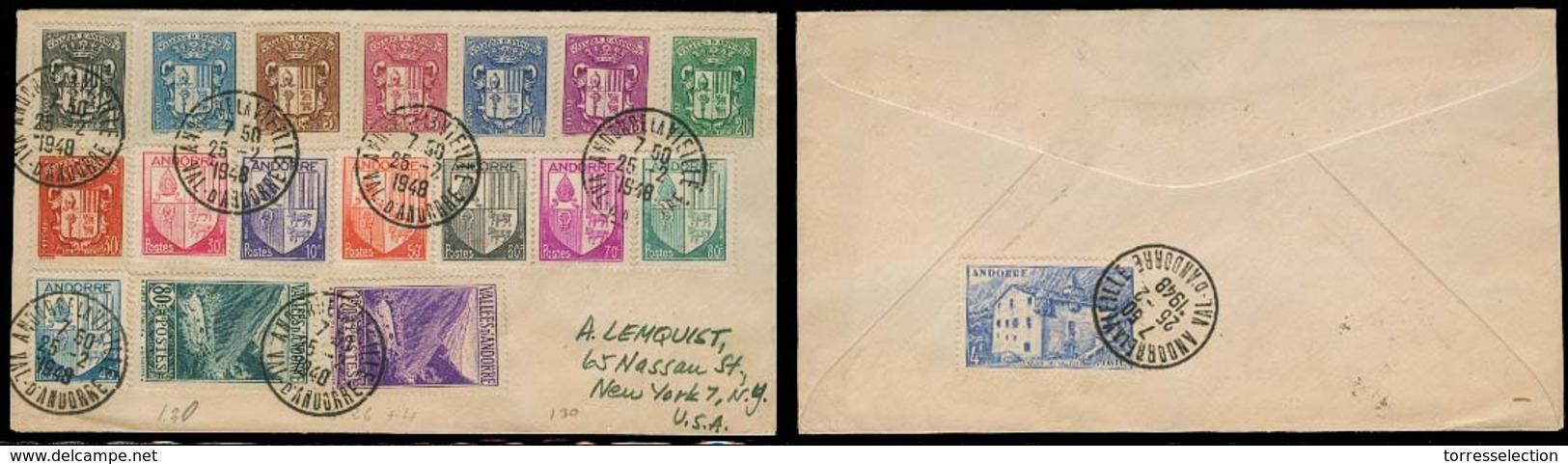 ANDORRA. 1948 (25 Feb). Of Francesa. A La Vielle - USA. Sobre Cert Franqueo Mutliple. MB. - Non Classés