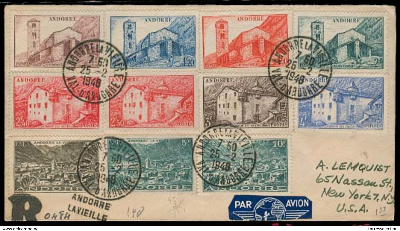 ANDORRA. 1948 (25 Feb). Of Francesa. A La Vielle - USA. Sobre Cert Via Aerea Franqueo Mutliple Con Llegada. Prec. - Non Classés