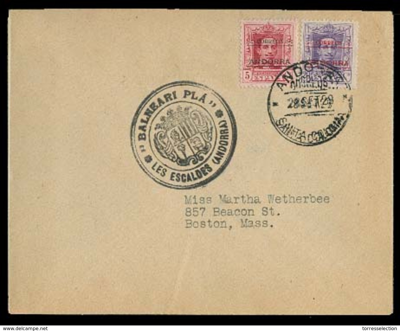 ANDORRA. 1929 (28 Sept). Santa Coloma - USA. Sobre Con Franqueo Primera Emision Sobrec Vaquer / Andorra, Mat Fechador + - Non Classés