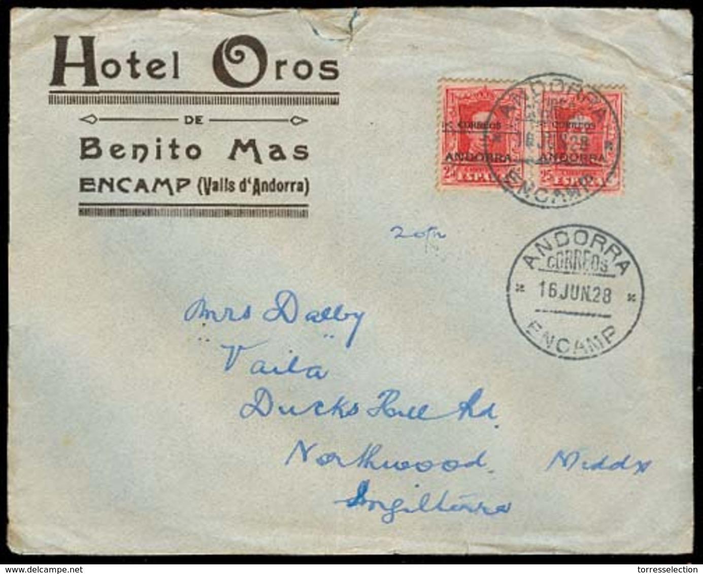ANDORRA. 1928 (16 Junio). Encamp - Inglaterra. Sobre Hotel Oros Con Franqueo 1ª Emision Sobrec Vaquer 25c Pareja Tarifa - Non Classés