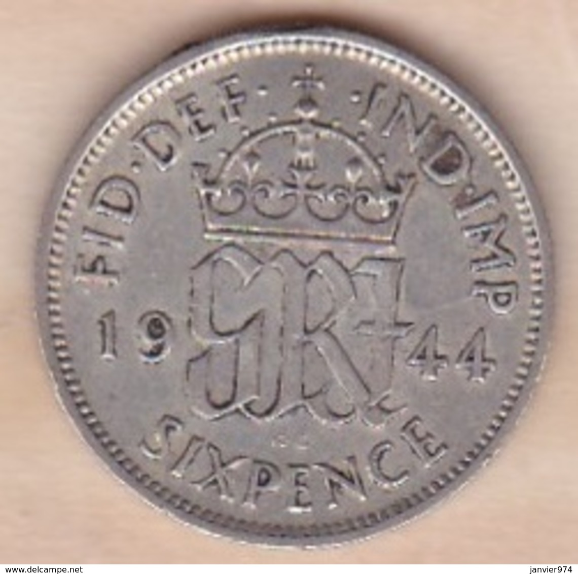 Grande Bretagne. 6 Pence 1944. George VI ,en Argent - H. 6 Pence