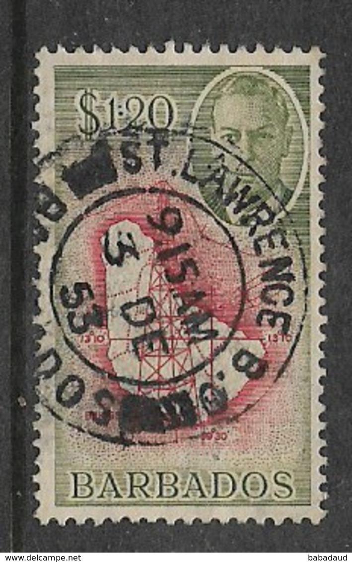 Barbados, GVIR, 1950, $1.20, Used ST.LAWRENCE B.O. BARBADOS 3 DE 53 , C.d.s. - Barbados (1966-...)