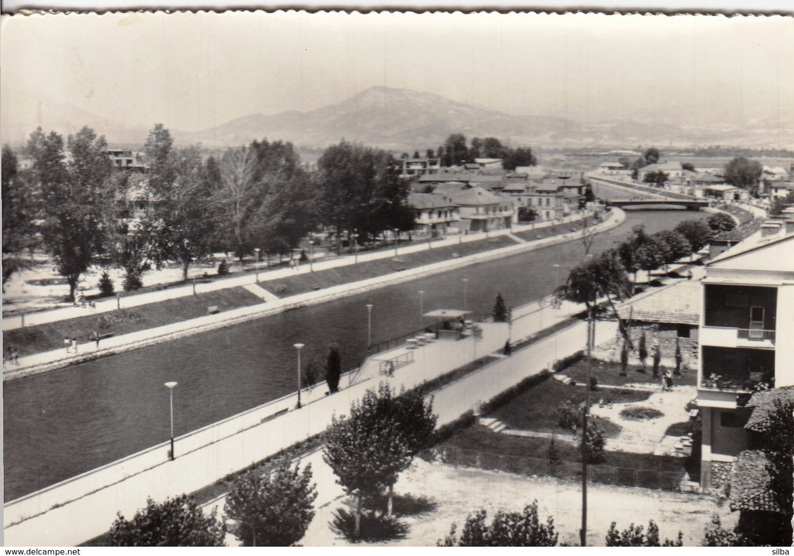Macedonia Struga 1958 / River, Bridge, Panorama - Macedonië