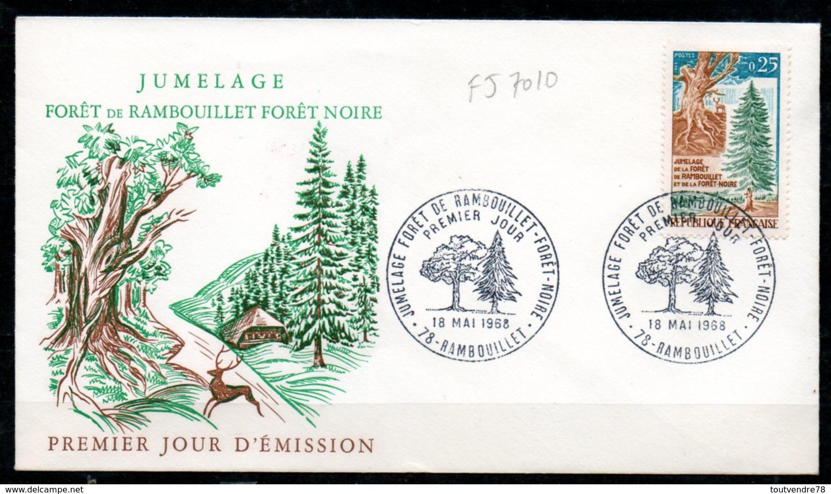FJ7010 / FDC Dept 78 (Yvelines) RAMBOUILLET 1968 > Jumelage Avec Forêt Noire - FDC