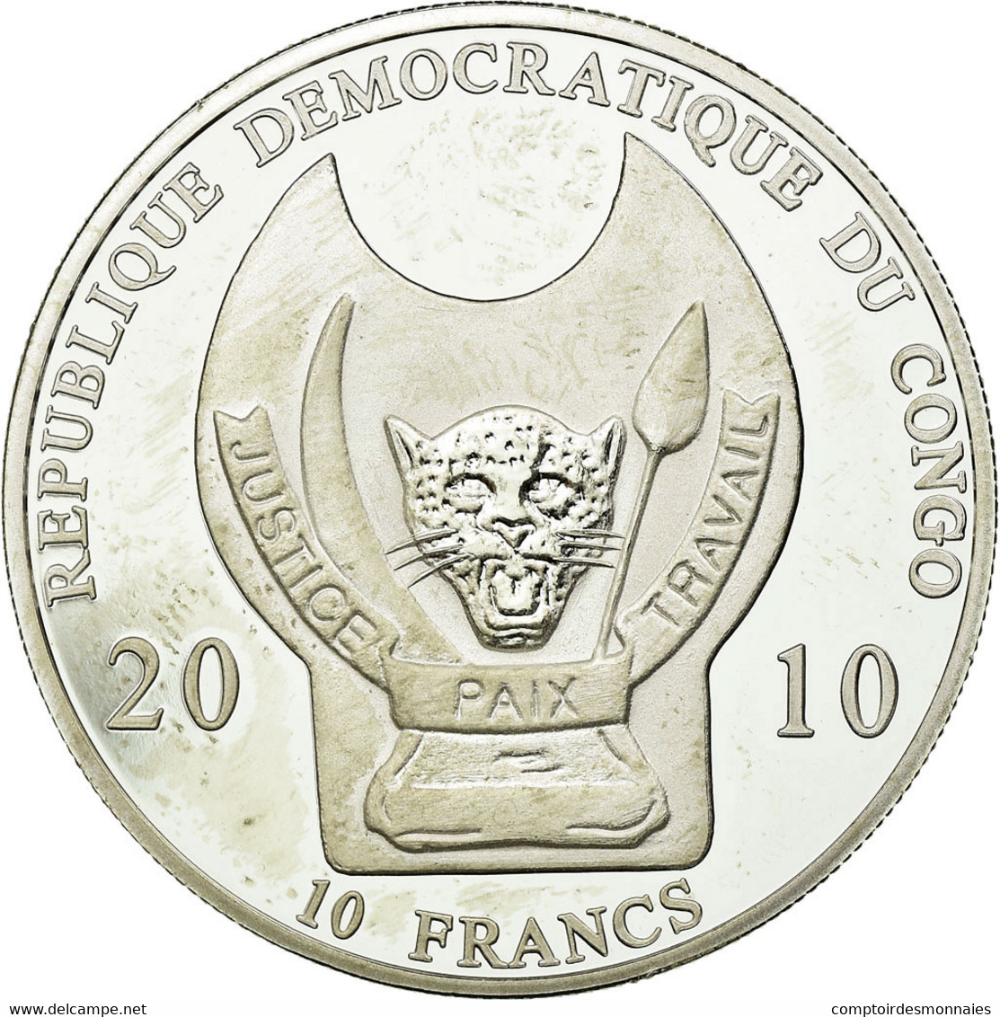 Monnaie, CONGO, DEMOCRATIC REPUBLIC, 10 Francs, 2010, SPL, Silver Plated Copper - Kongo (Dem. Republik 1998)