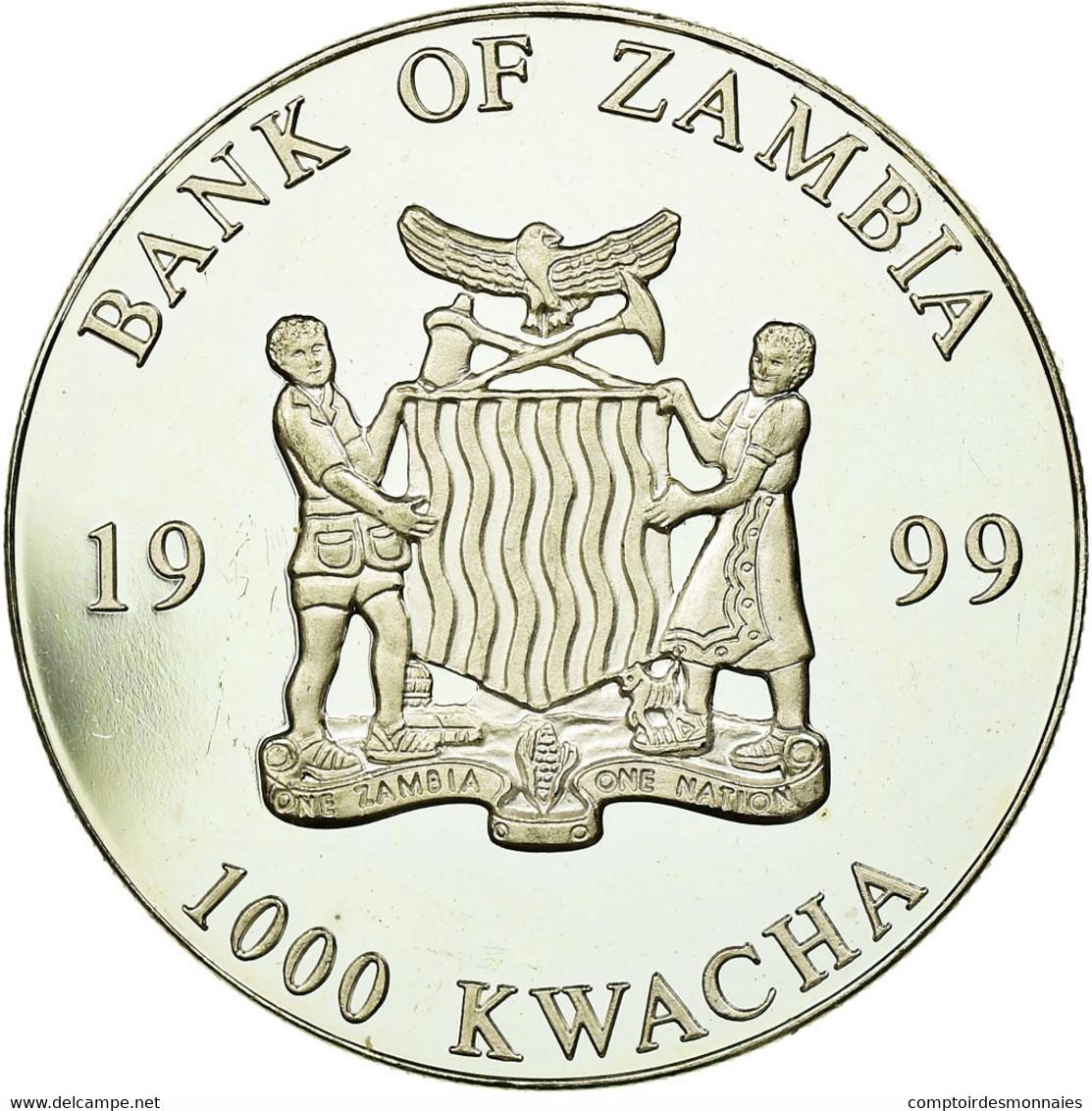Monnaie, Zambie, 1000 Kwacha, 1999, British Royal Mint, SPL, Silver Plated - Zambia