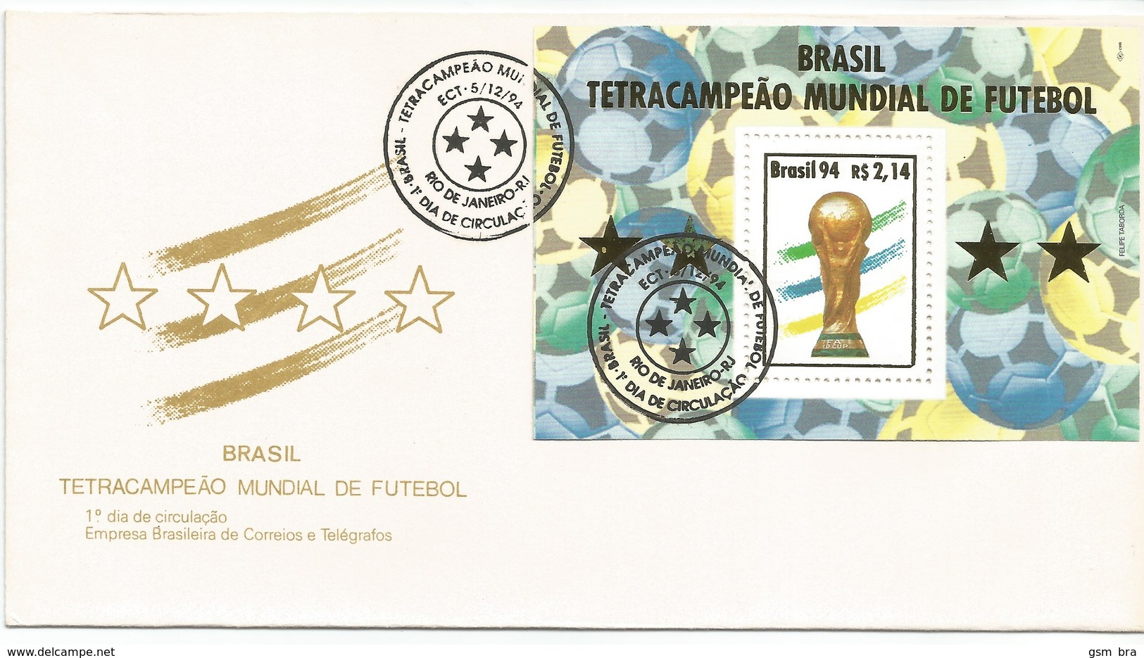BRAZIL 1994: FDC - Brazil - Four Times Champion Of The FIFA World Cup. Soccer, Football, Four Stars. - Coupe Du Monde