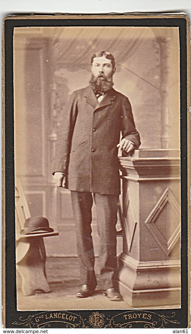 PHOTO CDV HOMME ELEGANT BARBE MODE SECOND EMPIRE  CABINET LANCELOT  A TROYES - Ancianas (antes De 1900)