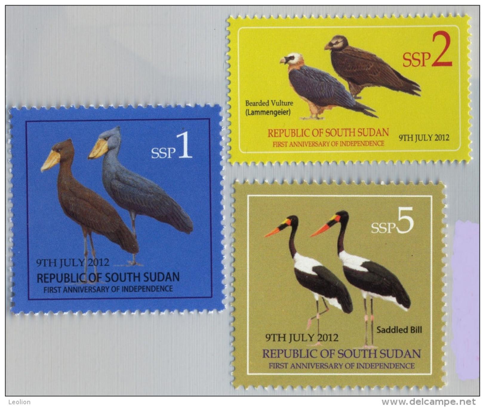 SOUTH SUDAN  1, 2 And 5 SSP Stamps. Storks, Vultures,  BIRDS ! Oiseaux = SOUDAN Du Sud = Südsudan - Autres