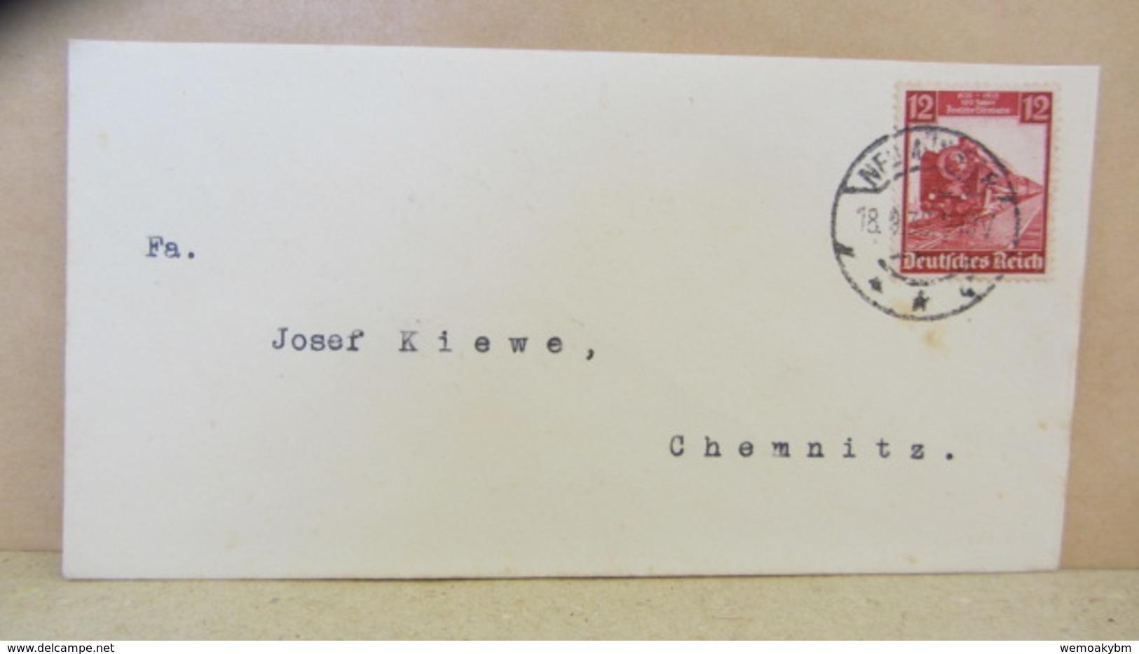 """DR: Fern-Brief (Klein 14,8 X 7,7) Mit 12 Pfg """"100 Jahre Deutsche Eisenbahn) Nach Chemnitz Vom 18.9.35 Knr: 581 - Briefe U. Dokumente"""
