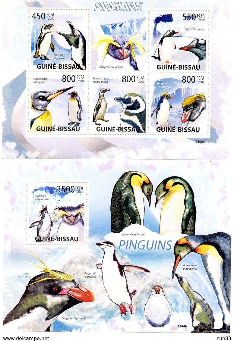 GUINEE BISSAU 2009 / Superbe Série 5 Valeurs Se Tenant + Blocs Dentelés MNH - Preservar Las Regiones Polares Y Glaciares