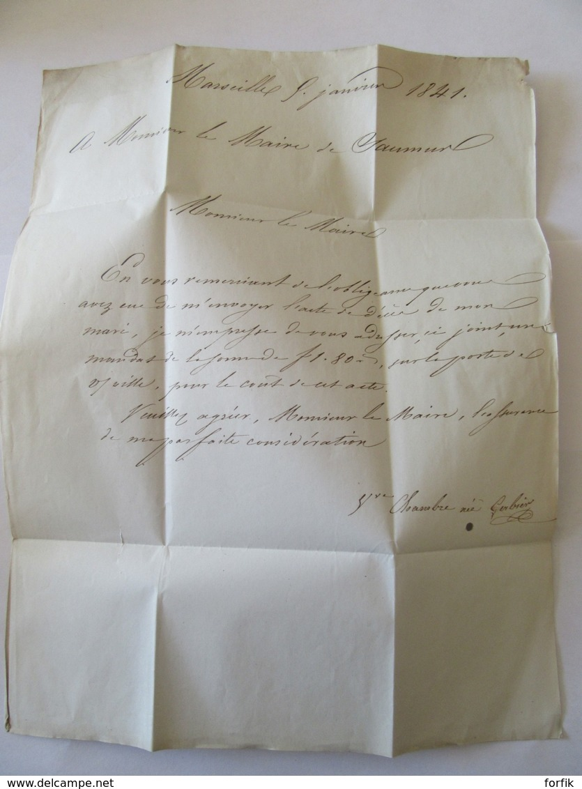 Lettre Marseille Vers Saumur - Cachet PP Port Payé + Cachets à Date - 1841 - 1801-1848: Précurseurs XIX