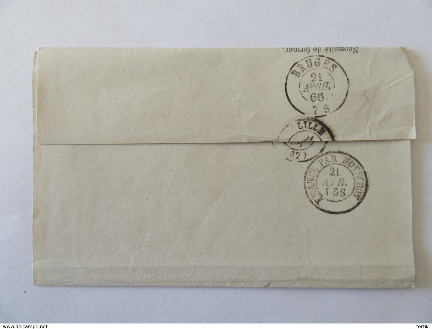 Enveloppe Du Procureur Impérial De Valenciennes Vers Belgique - Franchise Service Public (F.S.P) + Cachets - Avril 1866 - Postmark Collection (Covers)