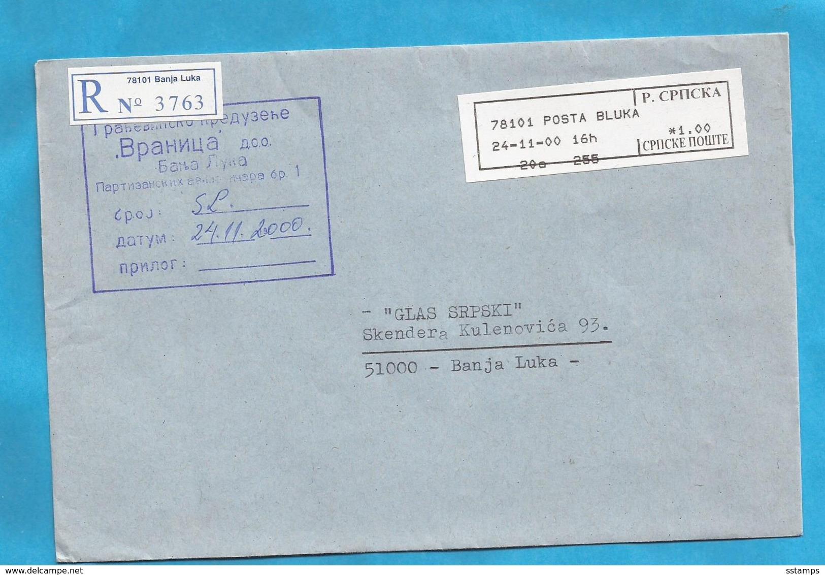 2000  BANJA LUKA 78101  RECCO BRIEF  INTERESSANT BOSNIA REPUBLIKA SRPSKA - Bosnie-Herzegovine