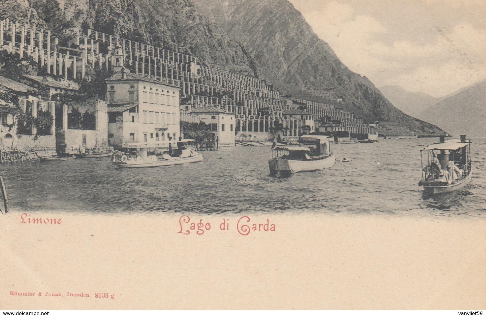 LIMONE -BRESCIA-LAGO DI GARDA-motonavi In Transito-CARTOLINA NON VIAGGIATA -ANNO 1900-1904 - Brescia