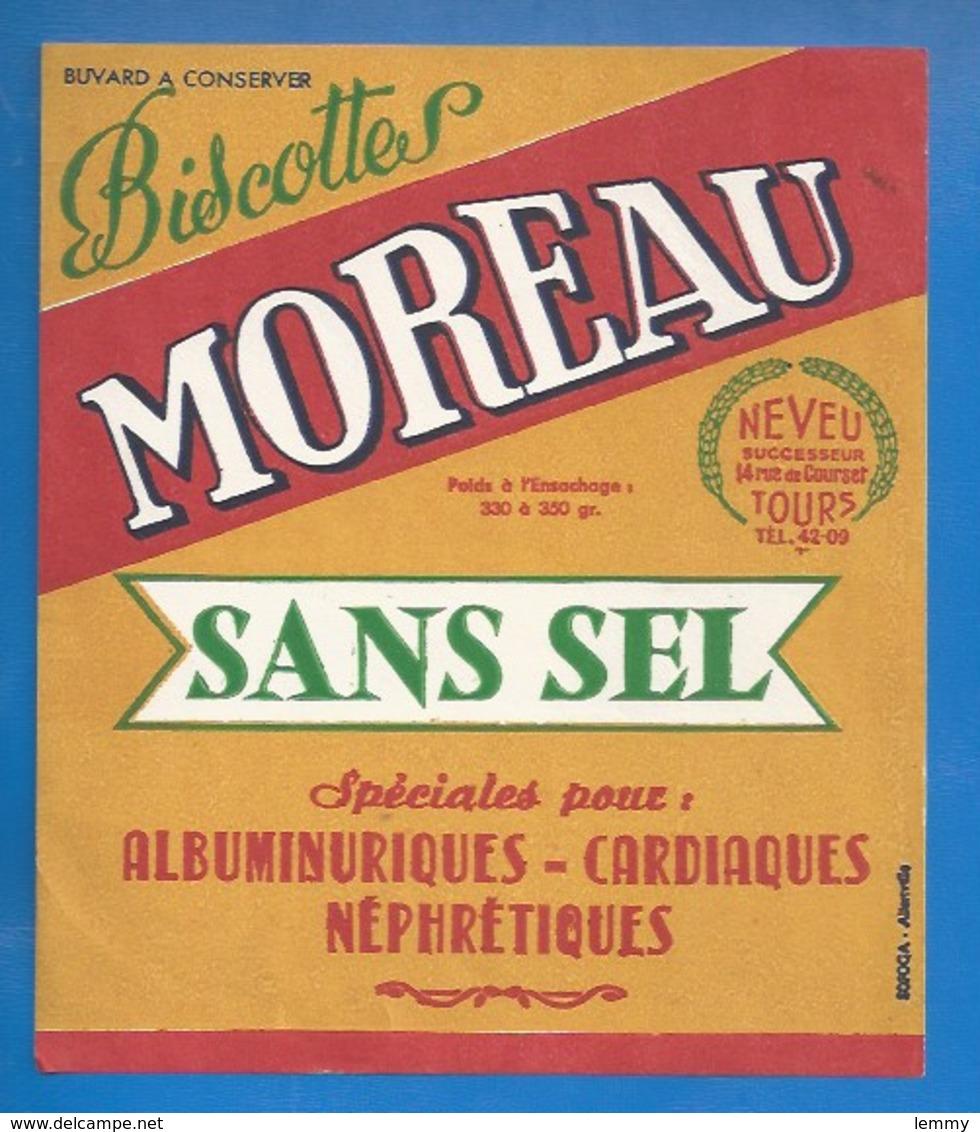 37 - TOURS,  NEVEU SUCCESSEUR 14 RUE DE COURSET - BUVARD ILLUSTRÉ- BISCOTTES MOREAU -  POUR CARDIAQUES... - Biscottes