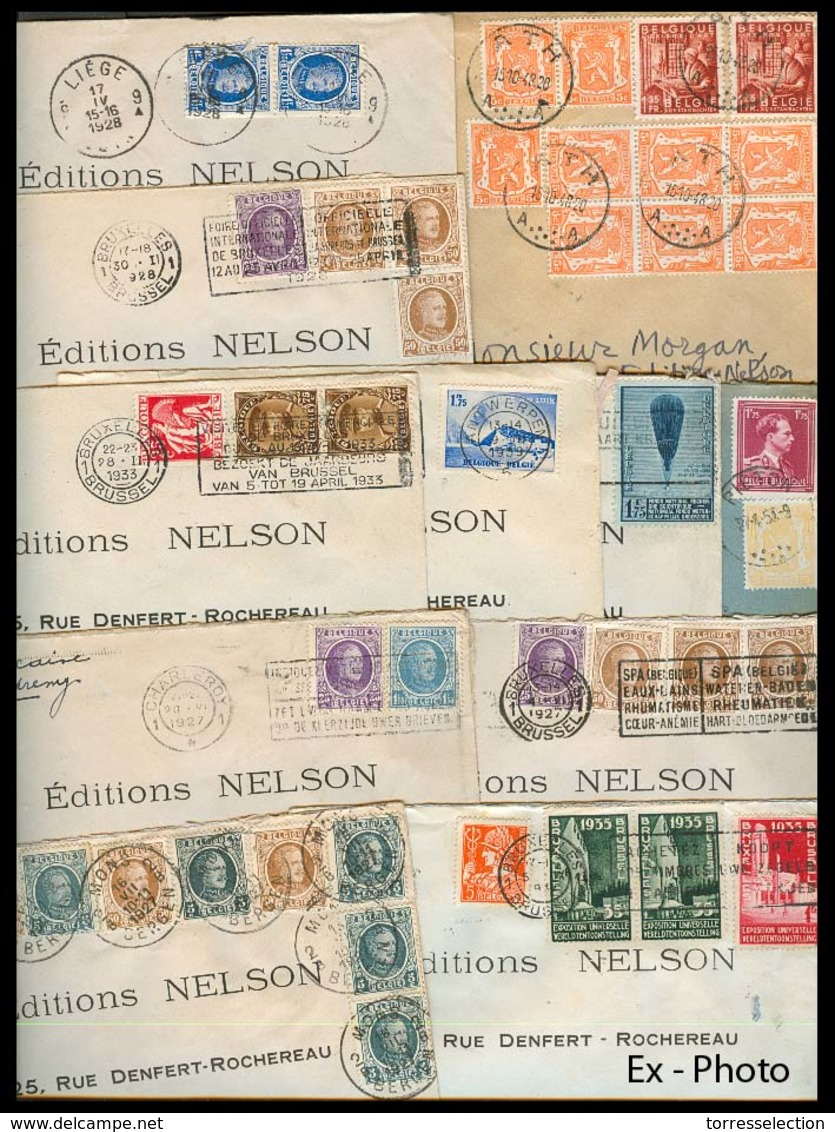 BELGIUM. 1920's 40's. Small Correspondance To France Diff Tows, Multiple Fkg, Many Nice Slogan Calcels. About 61 Covers. - Belgium