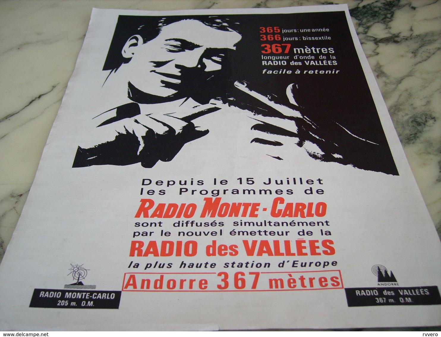 ANCIENNE PUBLICITE RADIO MONTE CARLO ET RADIO DES VALLEES 1964 - Pubblicitari