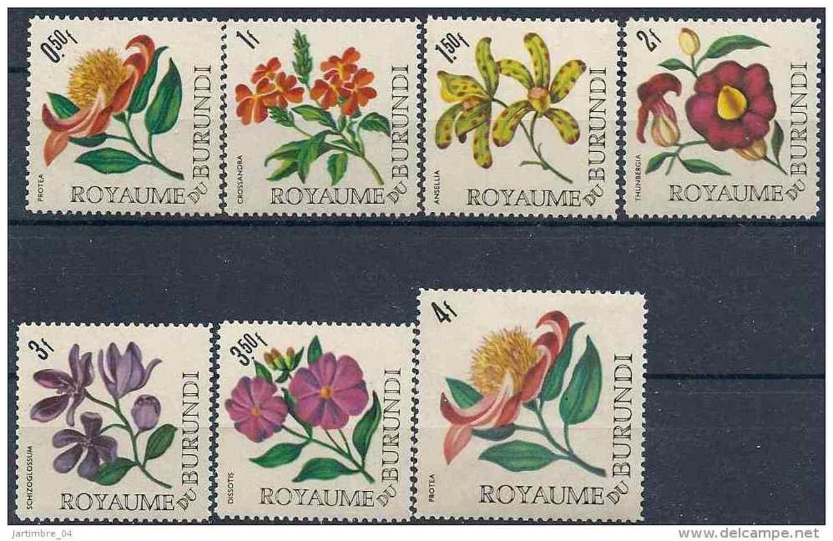 1966 BURUNDI 172-78** Série Courte Fleurs - 1962-69: Neufs