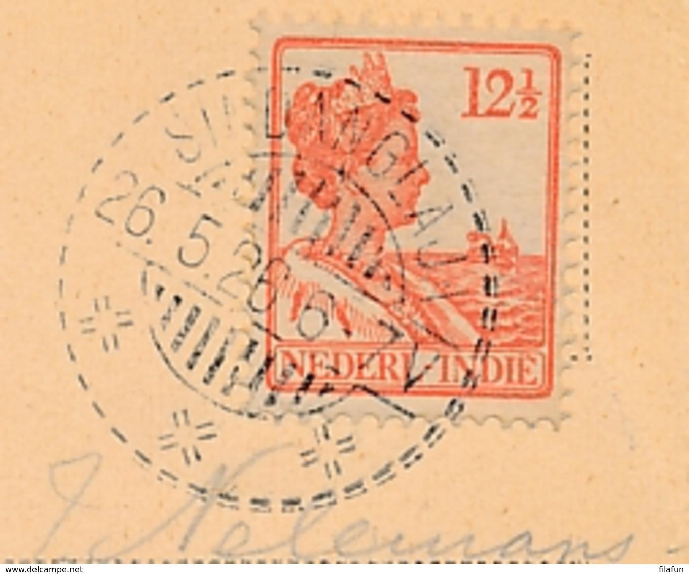 Nederlands Indië - 1926 - 12,5 Cent Wilhelmina Op Sepia Hotelansicht Van LB SINDANGLAJA Naar Den Haag - Indes Néerlandaises