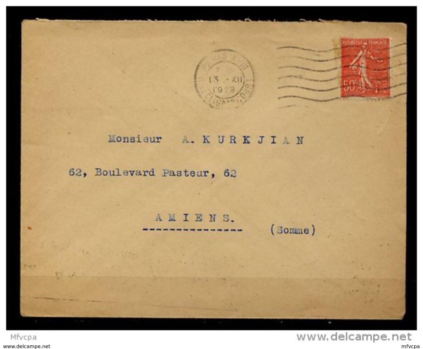 Am5326 OMEC FLIER A18106 Paris XVIII  7 L.O. / Semeuse Lignée 50c - Marcophilie (Lettres)