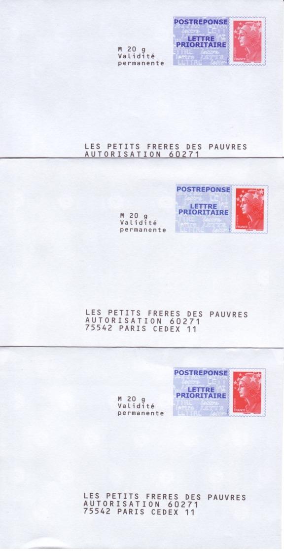 FRANCE : Lot De 3 Postreponse Neufs Différents - Les Petits Frères Des Pauvres - Prêts-à-poster: Réponse /Beaujard