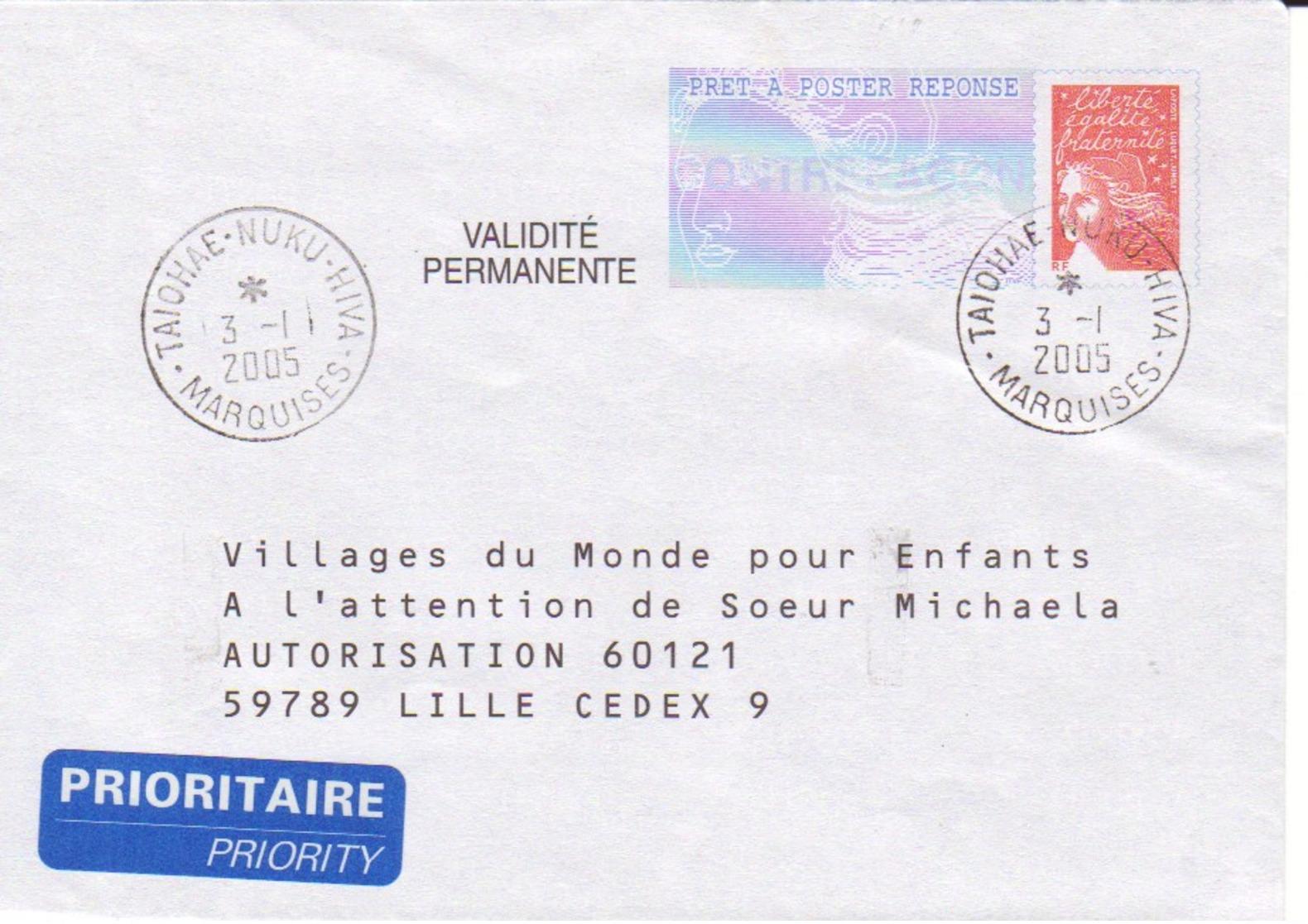 FRANCE : Prêt à Poster Réponse - Marquises -  Villages Du Monde Pour Enfants - Entiers Postaux