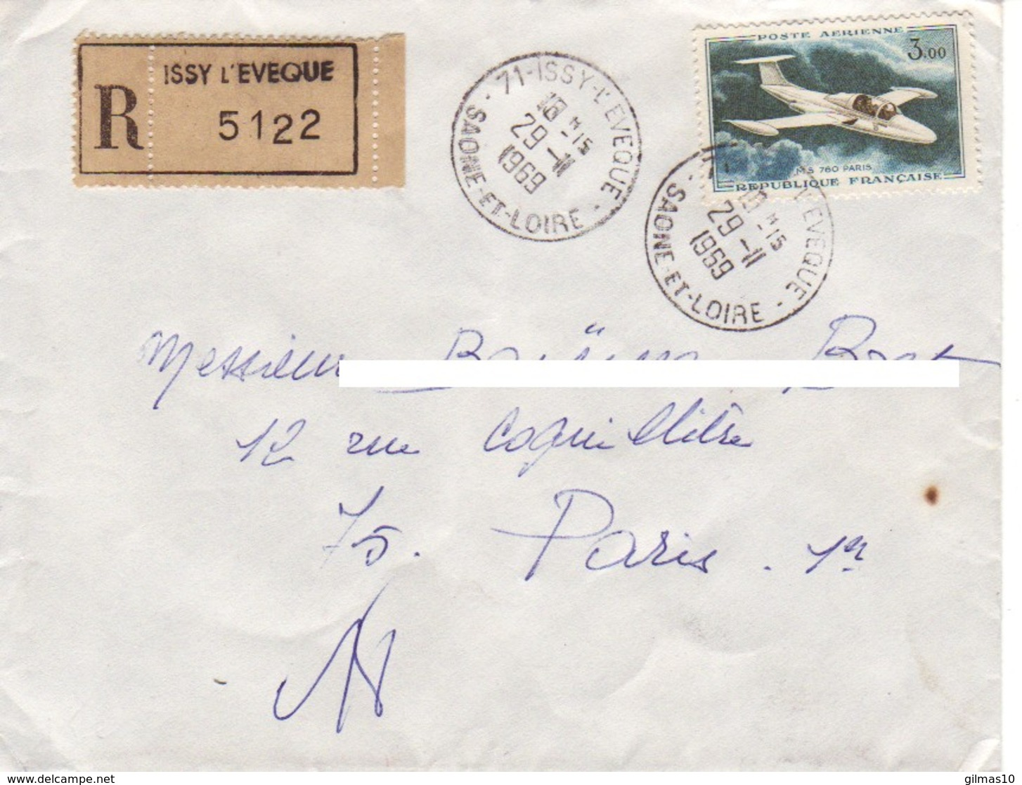 FRANCE : 1969 - Lettre Recommandée De Issy-L'Eveque Pour Paris - France