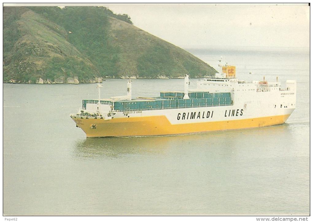 MV Republica Di Geneva-porte Containers-grimaldi Lines-service Brazil N. Europe-sister Ship Du Grande America-cpm - Commerce