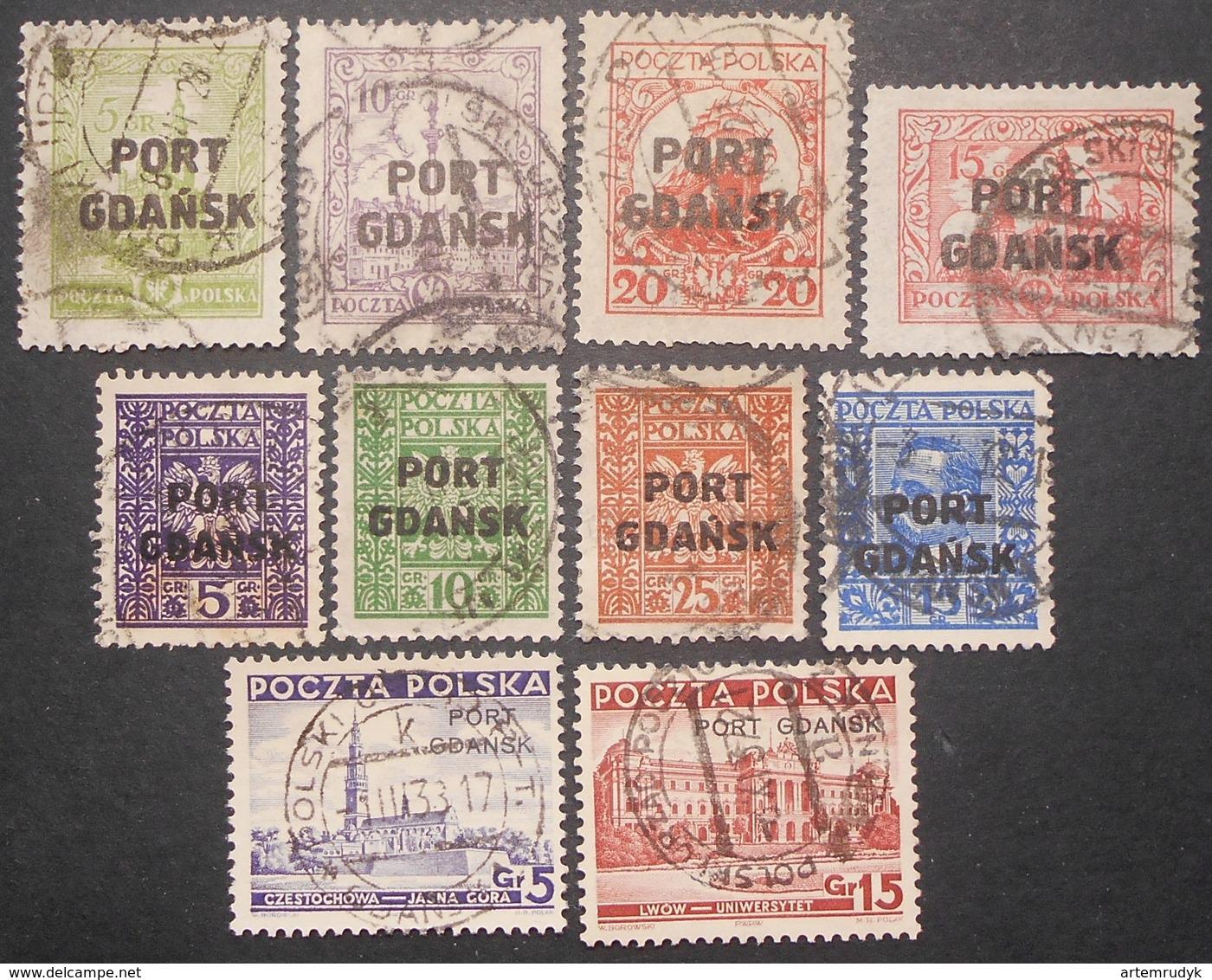 Poland - Port Gdansk 1926-1937 Group Of Stamps, Mi #15-18II, 20-22, 24, 32-33, Used, CV=57€ - 1919-1939 Republic